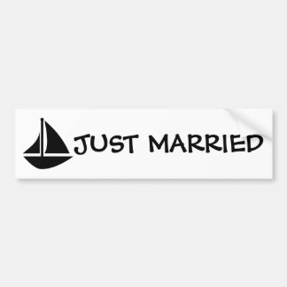 Black & White Nautical Just Married Bumper Sticker