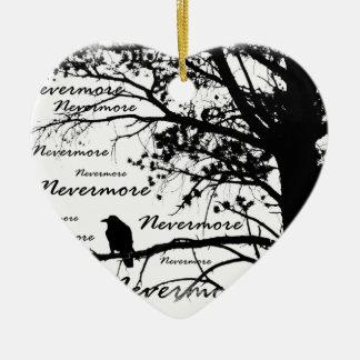 Black & White Nevermore Raven Silhouette Ceramic Heart Decoration