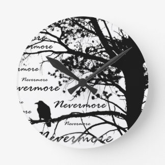Black & White Nevermore Raven Silhouette Clock