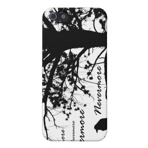 Black & White Nevermore Raven Silhouette iPhone 5 Covers
