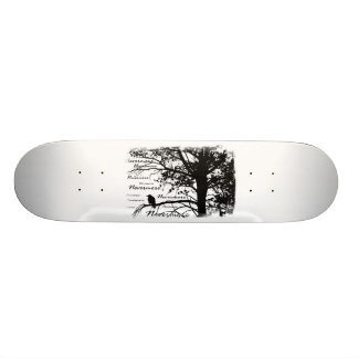 Black & White Nevermore Raven Silhouette Skate Board Decks