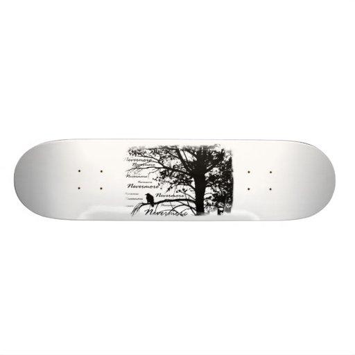 Black & White Nevermore Raven Silhouette Skate Deck