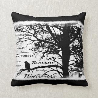 Black & White Nevermore Raven Silhouette Throw Pillow