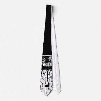 Black & White Nevermore Raven Silhouette Tie
