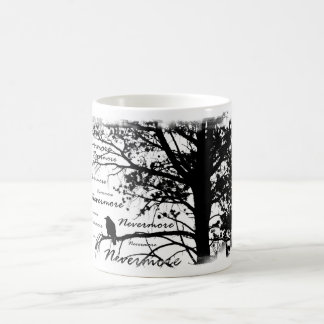 Black & White Nevermore Raven Silhouette Tree Magic Mug