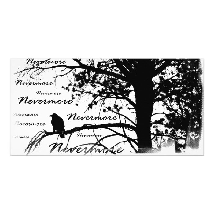 Black & White Nevermore Silhouette Raven Personalised Photo Card