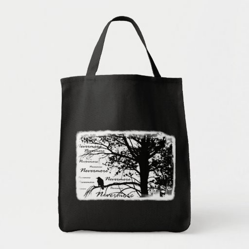 Black & White Nevermore Silhouette Raven Grocery Tote Bag