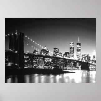 Black White New York City Brooklyn Bridge Poster