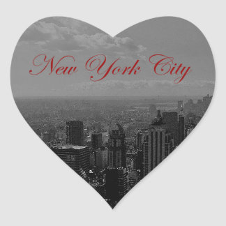 Black White New York City Heart Sticker