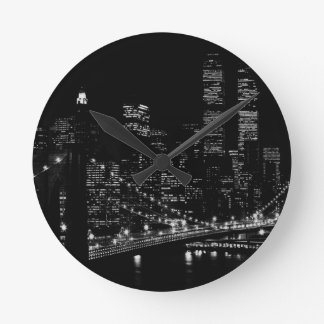 Black & White New York City Night Clock