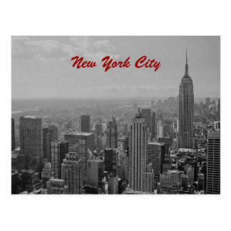 Black White New York City Script Post Card