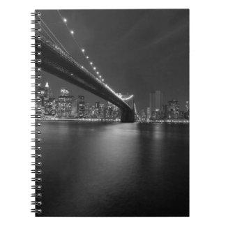 Black White New York City Skyline Spiral Note Books