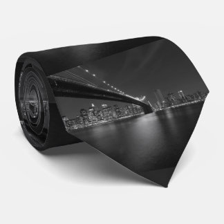 Black White New York City Skyline Tie