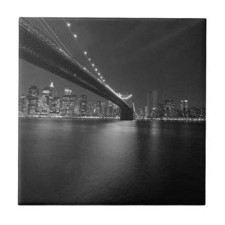 Black White New York City Skyline Tile