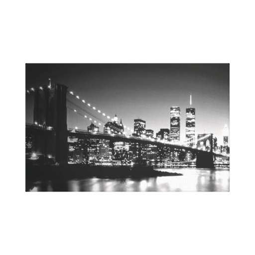 Black & White New York City Wrapped Canvas Stretched Canvas Prints