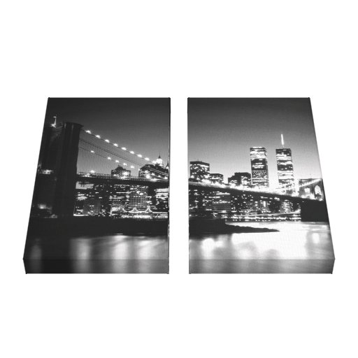 Black & White New York City Wrapped Canvas - 2 Can Canvas Print