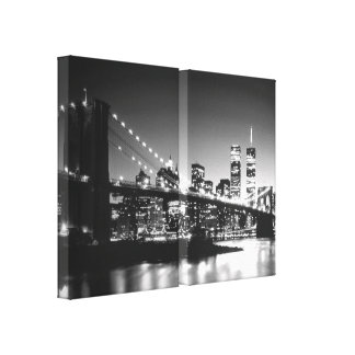 Black & White New York City Wrapped Canvases Set Gallery Wrapped Canvas