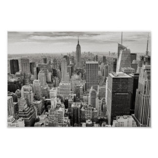 Black & White New York Manhattan Skyline Poster