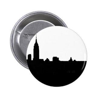 Black & White New York Silhouette 6 Cm Round Badge