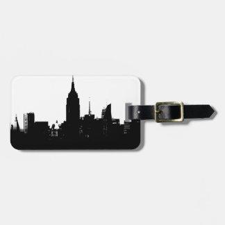 Black White New York Silhouette Luggage Tag