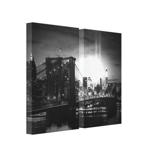 Black & White New York Skyline Wrapped Canvas - 2  Stretched Canvas Print