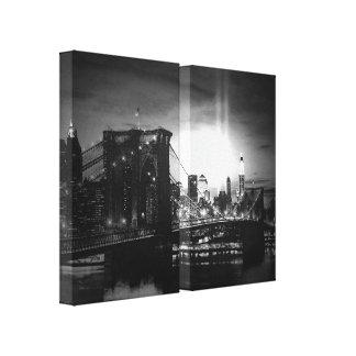 Black & White New York Skyline Wrapped Canvas - 2  Canvas Prints