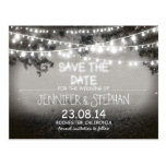 black & white night lights romantic save the date post card