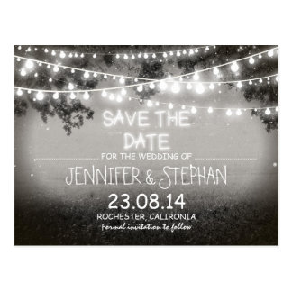 black & white night lights romantic save the date postcard