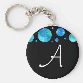 Black & White Ocean Polka Dots Keychain