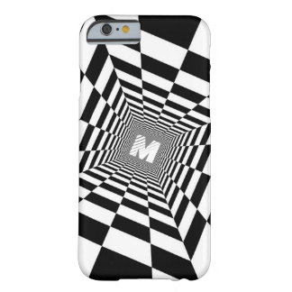 Black & White Optical Illusion, White Monogram Barely There iPhone 6 Case