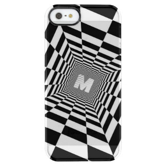 Black & White Optical Illusion, White Monogram Clear iPhone SE/5/5s Case