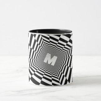 Black & White Optical Illusion, White Monogram Mug