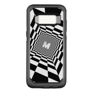 Black & White Optical Illusion, White Monogram OtterBox Commuter Samsung Galaxy S8 Case