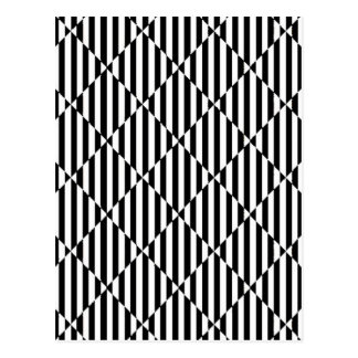 Black white optical illusions bent lines diamonds postcard