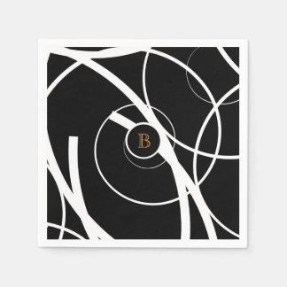 Black & White (orange monogram) | Paper Napkin