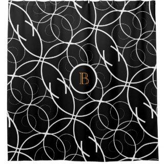 Black & White (orange monogram) | Shower Curtain