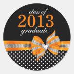 Black White Orange Polka Dot Graduation Seal Round Sticker