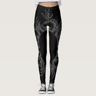 Black & white, oriental pattern, fashion leggings