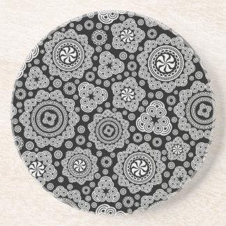 Black & White Ornate Circles Pattern Coaster