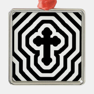Black & White Ornate Cross with Concentric Stripes Metal Ornament