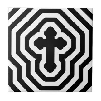 Black & White Ornate Cross with Concentric Stripes Small Square Tile