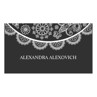 Black & White Ornate Lace Pattern Business Card Template