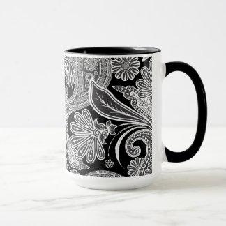 Black & White Ornate Paisley Mug