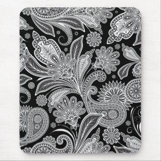 Black & White Ornate Paisley Pattern Mouse Pad