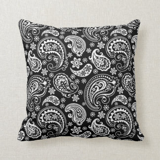 Black & WHite Ornate Paisley Pattern Throw Pillow