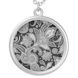 Black & White Ornate Paisley Round Pendant Necklace