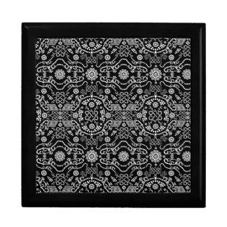 Black & White Ornate Pixel Design Large Square Gift Box