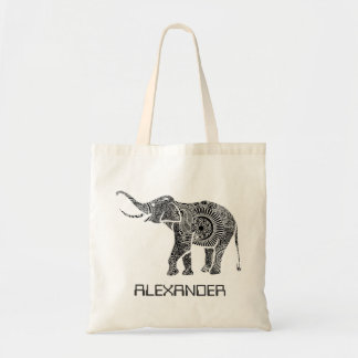 Black & White Ornate Swirls Elephant -Custom Tex Tote Bag