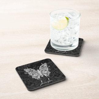 Black & White Ornate Tribal Butterfly Coaster