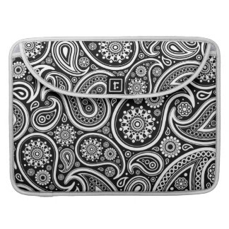 Black & White Ornate Vintage Paisley Design Sleeve For MacBook Pro